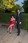 AMY MOLYNEAUX; LAURENT BENBAMOU, Serpentine Summer party 2012 sponsored by Leon Max. Pavilion designed by Herzog & de Meuron and Ai Weiwei. Kensington Gardens. London. 26 June 2012.