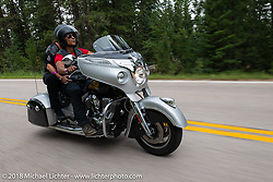Actor Zahn McClarnon who played the Tribal Police Chief Mathias in the TV series Longmire on the Legends Ride - riding from Deadwood to the Buffalo Chip during the 78th annual Sturgis Motorcycle Rally. Sturgis, SD. USA. Monday August 6, 2018. Photography ©2018 Michael Lichter.