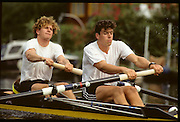Molesey; Great Britain. GBR M2+. Bow Jonny SEARLE, Stroke Greg SEARLE and cox Gary HERBERT 1992 British International Rowinig Training on the Molesey Reach; Surrey.; Went on to be Gold Medalist at the Barcelona Olympic Regatta later in the year.; Mandatory Credit. Peter Spurrier/Intersport Images +1992 +Molesey +Henley 1992 GBRowing Training, Molesey/Henley, United Kingdom