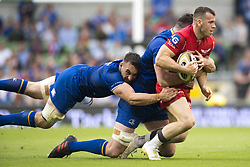 May 27, 2018 - Dublin, Ireland - Gareth Davies of Scarlets tackled by Jack Conan of Leinster during the Guinness PRO14 Final match between Leinster Rugby and Scarlets at Aviva Stadium in Dublin, Ireland on May 26, 2018  (Credit Image: © Andrew Surma/NurPhoto via ZUMA Press)