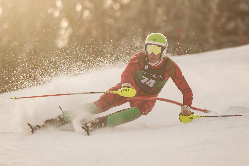 Dylan Murtha of St. Lawrence University, skis during the first run of the men's slalom at the Colby College Carnival at Sugarloaf Mountain on January 18, 2014 in Carabassett Valley, ME. (Dustin Satloff/EISA)