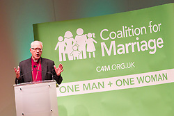 © Licensed to London News Pictures. 08/10/2012. Birmingham , UK . The former Archbishop of Canterbury , George Carey speaks against gay marriage . Birmingham Town Hall meeting of The Coalition for Marriage , who are opposed to giving marriage rights to gay people . Photo credit : Joel Goodman/LNP
