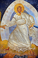 The 11th century Roman Byzantine Church of the Holy Saviour in Chora and its Anastasis fresco of Jesus Christ in the parecclesion chapel Endowed between 1315-1321 by the powerful Byzantine statesman and humanist  Theodore Metochites. Kariye Museum  Istanbul .<br /> <br /> If you prefer to buy from our ALAMY PHOTO LIBRARY  Collection visit : https://www.alamy.com/portfolio/paul-williams-funkystock/holy-saviour-chora-istanbul.html<br /> <br /> Visit our TURKEY PHOTO COLLECTIONS for more photos to download or buy as wall art prints https://funkystock.photoshelter.com/gallery-collection/3f-Pictures-of-Turkey-Turkey-Photos-Images-Fotos/C0000U.hJWkZxAbg