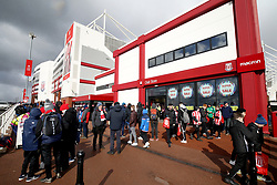 A general view of fans walking around outside of the Stoke City club store at bet365 Stadium