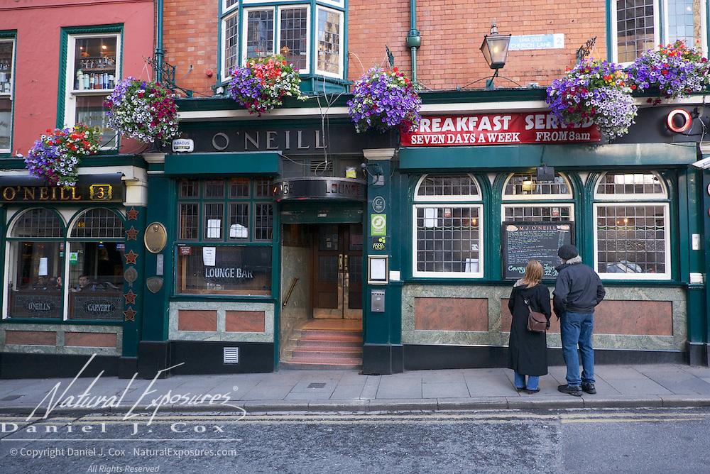 Street scenes in downtown area of Dublin, Ireland.