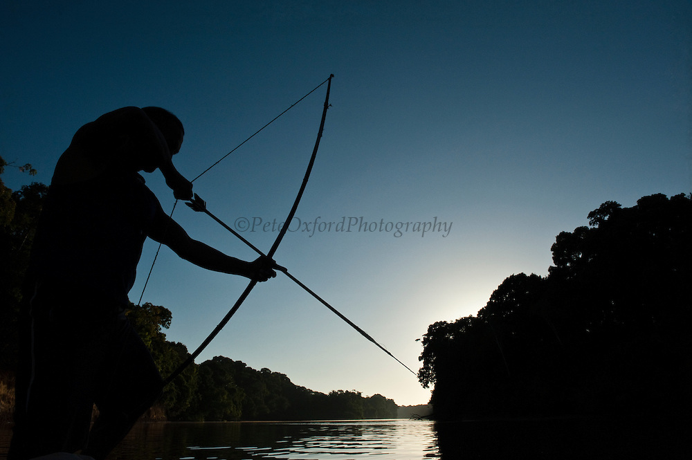 Fishing with bow and arrow<br /> Rewa River<br /> Rainforest<br /> GUYANA. South America