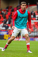 Charlton Athletic defender Jason Pearce (6) warming up prior to the EFL Sky Bet League 1 match between Charlton Athletic and AFC Wimbledon at The Valley, London, England on 12 December 2020.