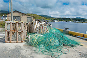 Fishing nets on Trout river on the east arm of the Unesco world heritage sight, Gros Mourne National Park, Newfoundland, Canada