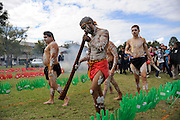 Aboriginal dancers during traditional cleansing ceremony. National Sorry Day celebration, Perth, Western Australia