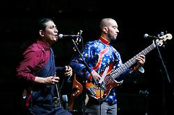18 May 2013. New Orleans, Louisiana,  USA..Tibetan singer Techung (l) performs before the arrival of His Holiness the 14th Dalai Lama at the University of New Orleans Lakefront Arena for the 'Resiliance - Strength through Compassion and Connection' conference. .Photo; Charlie Varley.