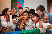 Barvalipe: The 2nd Roma Pride Summer Camp for young Roma from Central and Eastern Europe at Szentendre Island near Budapest, Hungary. Group of Roma children from Mazedonia performing their evening surprise play for the participants