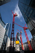 City of London England UK March 2021<br />40 Leadenhall Street under construction. A major new building underconstruction on Leadenhall Street designed by MAKE Architects. <br />From the MAKE web site: We've reconciled these contextual challenges with a sensible but striking 34-storey design that recalls the classic North American skyscrapers of the early 20th century. The building is made up of several stepped blocks, and at its tallest point to the north, around neighbouring towers, terraces down towards the river and the Tower of London. It steps back on Leadenhall Street to remain out of sight from Fleet Street and the ceremonial route to St Paul's.