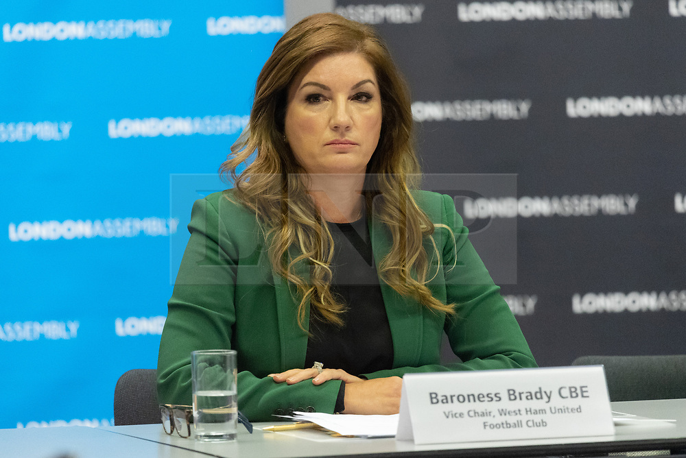 © Licensed to London News Pictures. 17/10/2018.  Baroness Karren Brady, West Ham Exceutive Vice-Chairman attends a London Assembly Budget Monitoring Sub-Committee meeting to discuss the football club's view of the financial situation at the London Stadium. The meeting also discusses the London Legacy Development Corporation (LLDC), which runs the London stadium, legal fees relating to disputes with West Ham will reach £4million by the end of this year. Photo credit: Ray Tang/LNP