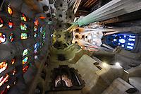 Spain, Barcelona. The Sagrada Família designed by Antoni Gaudí. Interior.