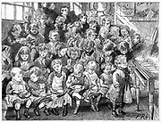 London Board School, Denmark Terrace, Islington:  Waiting for soup at dinner time.  From 'The Graphic' London 7 December 1889.  This soup was probably the most nourishing meal in the day for these children.  Wood engraving.