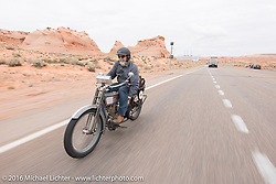 Bill Page of Kansas riding his single-cylinder 1915 Harley-Davidson class-2 motorcyle as he comes into Page during the Motorcycle Cannonball Race of the Century. Stage-11 ride from Durango, CO to Page, AZ. USA. Wednesday September 21, 2016. Photography ©2016 Michael Lichter.