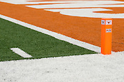 AUSTIN, TX - SEPTEMBER 14: A Texas Longhorns and Big 12 pylon in the end zone against the Mississippi Rebels on September 14, 2013 at Darrell K Royal-Texas Memorial Stadium in Austin, Texas.  (Photo by Cooper Neill/Getty Images) *** Local Caption ***