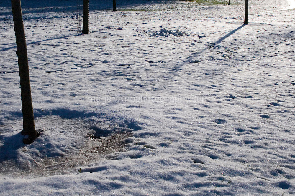 Snow covered field in suburban in Dublin Ireland