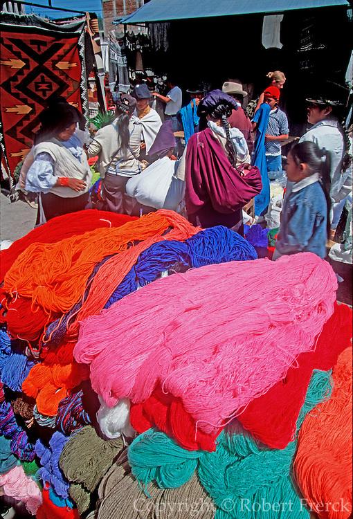 ECUADOR, MARKETS, CRAFTS Otavalo market, shopping for textiles