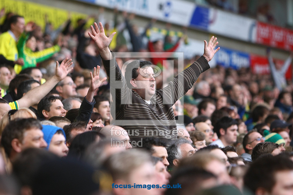 Picture by Paul Chesterton/Focus Images Ltd.  07904 640267.26/02/12.The home fans celebrate their sides equaliser during the Barclays Premier League match at Carrow Road Stadium, Norwich.