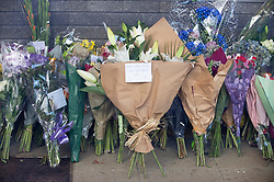 ©Licensed to London News Pictures 29/09/2020  <br /> Croydon, UK. Flowers for Sgt Matt Ratana at Croydon Custody Centre. The murder investigation continues after the death of police sergeant Matt Ratana at the Croydon Custody Centre in South London last week. Photo credit:Grant Falvey/LNP