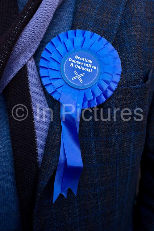 General election 2015. West Kilbride, Scotland. Conservative party rosette, detail
