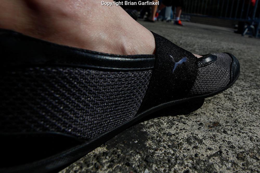 Allison's Puma shoe at Alcatraz in San Francisco, California. (Photo by Brian Garfinkel)