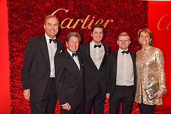 Left to right the Hon.Harry Herbert, Sir John Warren, Jake Warren, Lord Porchester and Lady Carolyn Warren at The Cartier Racing Awards 2018 held at The Dorchester, Park Lane, England. 13 November 2018. <br /> <br /> ***For fees please contact us prior to publication***