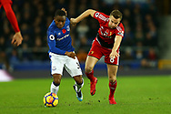 Ademola Lookman of Everton (l) and Tom Cleverley of Watford in action. Premier league match, Everton vs Watford at Goodison Park in Liverpool, Merseyside on Sunday 5th November 2017.<br /> pic by Chris Stading, Andrew Orchard sports photography.
