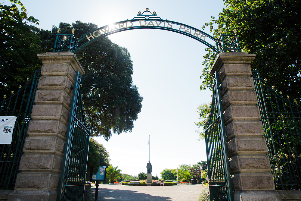 Entrance to the gardens of Howard Davis Park in St Helier,. Jersey, CI