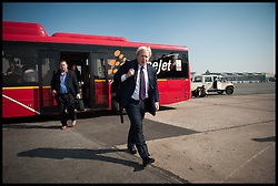 London Mayor Boris Johnson on the tarmac in Delhi about to board a plane to Hyderabad, on the Third day of a six-day tour of India, where he will be trying to persuade Indian businesses to invest in London, Tuesday November 27, 2012. Photo by Andrew Parsons / i-Images