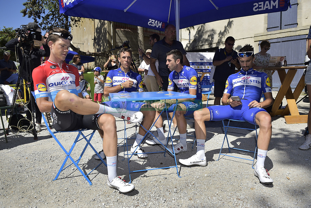 July 23, 2018 - Mende, FRANCE - Luxembourg Bob Jungels of Quick-Step Floors, Belgian Philippe Gilbert of Quick-Step Floors, Argentina Maximiliano Richeze of Quick-Step Floors and French Julian Alaphilippe of Quick-Step Floors pictured during the second rest day of the 105th edition of the Tour de France cycling race in Carcassone, France, Monday 23 July 2018. This year's Tour de France takes place from July 7th to July 29th. BELGA PHOTO YORICK JANSENS (Credit Image: © Yorick Jansens/Belga via ZUMA Press)