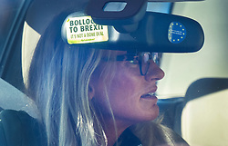© Licensed to London News Pictures. 25/09/2019. London, UK. Sally Bercow, wife of Parliamentary Speaker John Bercow, is seen driving a car with anti-Brexit stickers on the rear view mirror as she arrives at the gates of Parliament. One sticker reads ' BOLLOCKS TO BREXIT - IT'S NOT A DONE DEAL' and an other says 'DON'T BLAME ME - I VOTED REMAIN'. Photo credit: Peter Macdiarmid/LNP