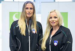 Polona Hercog and Tadeja Majeric during press conference of Slovenian women Tennis team before Fed Cup tournament in Tallinn, Estonia, on January 28, 2015 in Kristalna palaca, Ljubljana, Slovenia. Photo by Vid Ponikvar / Sportida