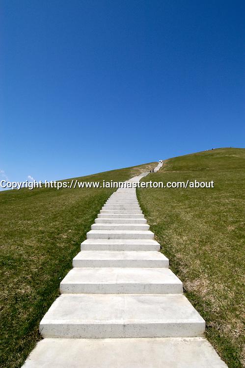Path on hill in Moerenuma Park in Sapporo Japan