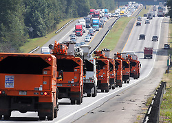 Traffic on I-75 North fleeing Hurricane Irma backs up moving at a crawl toward Atlanta while power trucks head south toward the Georgia coast in preparation for the storm on Friday, September 8, 2017, in Griffin. Photo byCurtis Compton/Atlanta Journal-Constitution/TNS/ABACAPRESS.COM