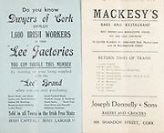"""Munster Senior and Minor Hurling Championship Final, .11081935MSMHCF,..11.08.1935, 08.11.1935, 11th August 1935,.Senior Limerick v Tipperary,.Minor Tipperary v Cork,..Dwyers of Cork """"Lee Factories"""",..Mackesy's Bar and Restaurant, 70 Oliver Plunkett St, Vineyard Bar, Market Lane and 30 Washington Street,..Joseph Donnelly and Sons, Bakers and Grocers, 103 Shandon St, Cork,"""