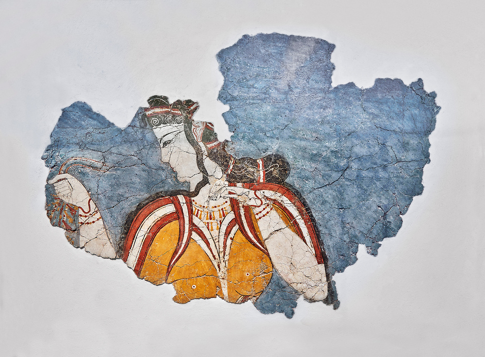 The 'Mycenaean Lady' fresco wall painting depicting a women in a procession, Mycenae, Greece Cat No 11670. National Archaeological Museum, Athens. White Background.<br /> <br /> The 'Mycenaean Lady' fresco depicts a women with a serious and pensive expression of a goddess in a solemn moment during which she accepts a gift of a necklace which she hold tightly in her right hand. she wears a short sleeved bodice over a sheer blouse which deliniates her bosom. She has an  intricate hairstyle and wears rich jewellery. .<br /> <br /> If you prefer to buy from our ALAMY PHOTO LIBRARY  Collection visit : https://www.alamy.com/portfolio/paul-williams-funkystock/mycenaean-art-artefacts.html . Type -   Athens    - into the LOWER SEARCH WITHIN GALLERY box. Refine search by adding background colour, place, museum etc<br /> <br /> Visit our MYCENAEN ART PHOTO COLLECTIONS for more photos to download  as wall art prints https://funkystock.photoshelter.com/gallery-collection/Pictures-Images-of-Ancient-Mycenaean-Art-Artefacts-Archaeology-Sites/C0000xRC5WLQcbhQ