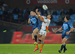 PRETORIA, South Africa, 28 May 2011. Jaco Pretorius of the Bulls and Robert Ebersohn of the Cheetahs compete for the ball in the air during the Super15 Rugby match between the Bulls and the Cheetahs at Loftus Versfeld in Pretoria, South Africa on 28 May 2011..Photographer : Anton de Villiers / SPORTZPICS