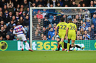Queens Park Rangers midfielder Yeni Atito Ngbakoto (23) celebrating after scoring 3-1 during the EFL Sky Bet Championship match between Queens Park Rangers and Rotherham United at the Loftus Road Stadium, London, England on 18 March 2017. Photo by Matthew Redman.