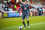 Goalkeeper Jamie Cumming of Stevenage during the EFL Sky Bet League 2 match between Stevenage and Walsall at the Lamex Stadium, Stevenage, England on 20 February 2021.
