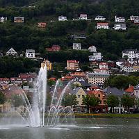 Europe, Norway, Bergen. Fountain in Bergen