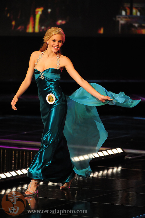 """November 22, 2009; Rancho Mirage, CA, USA; Miss Poway Teen USA Emma Baker showcases her evening gown during the top 10 third round of the Miss California Teen USA 2010 Pageant at """"The Show"""" at the Agua Caliente Resort & Spa. Mandatory Credit: Kyle Terada-Terada Photo"""