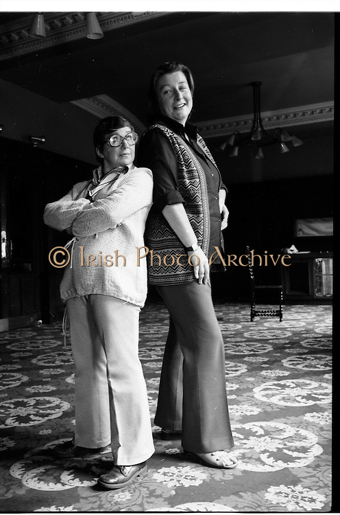 Maureen Potter & Marie Conmee, Gaiety Theatre Dublin, Ireland.  Shots of Maureen Potter  and Marie Conmee  Irish singer, actor, comedian and performer, actress, in  Dublin, Ireland.<br />