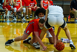 19 February 2021: Boys Basketball game between the NCHS Ironmen and the Normal West Wildcats in Normal West High School, Normal IL