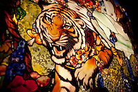 Stained glass tiger made from Tiffany Glass created for Tavern on the Green in the 1970s. 8' tall..(Photo by Robert Caplin)..
