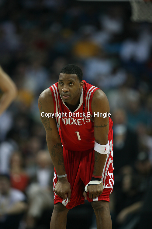 Tracy McGrady #1 (Rockets) during a timeout on February 22, 2008 at the New Orleans Arena in New Orleans, Louisiana. The New Orleans Hornets lost to the Houston Rockets 100-80.