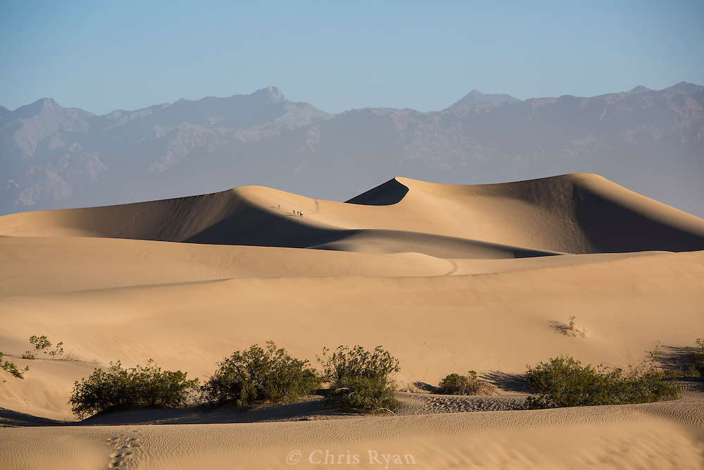 Hikers ascending Mesquite Flat Sand Dunes, Death Valley, California