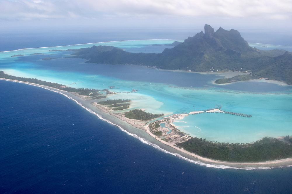 Overhead view of Bora Bora, Society Islands, French Republic