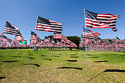 American Flags fly on the campus grounds to commemorate the innocent victims of the 9/11 attack on the World Trade Center, the Pentagon and Flight 93. photographed at Pepperdine University, Malibu, California, USA